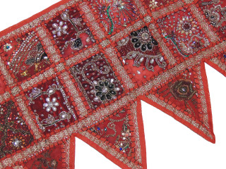 Red Ethnic Indian Window Valance - Kundan Sari Patchwork Door Topper Toran 60""