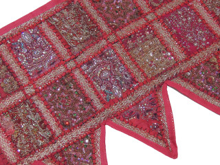Magenta Ethnic Indian Window Valance - Kundan Sari Patchwork Door Topper Toran 60""