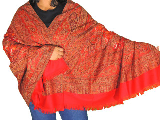 Red Embroidered Warm Dressy Scarf - Jamawar Paisley Wool Kashmir Shawl Afghan 80""