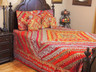 Red Indian Inspired Bollywood Bedding - Beaded Duvet with Pillows Cushion Covers ~ King