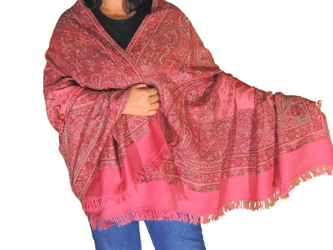 Coral Pink Embroidered Ladies Shoulder Shawl - Kashmir Paisley Wool Scarf Afghan 80""