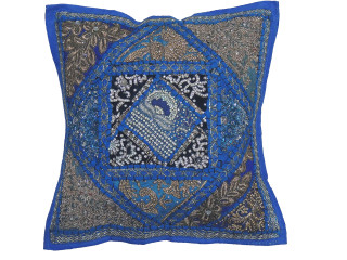 Blue Sari Patchwork Throw Pillow Cover - Decorative Beaded Indian Cushion Cover 16""
