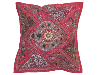 Hot Pink Sari Patchwork Pillow Cover - Decorative Beaded Indian Throw Cushion Cover 16""
