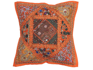 Orange Decorative Patchwork Pillow Cover -Beaded Indian Unique Couch Cushion 16""