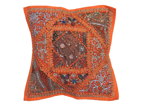 Orange Decorative Living Room Pillow Cover - Beaded Couch Cushion 16""