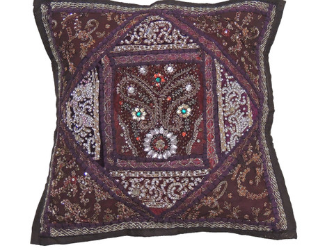 Brown Kundan Decorative Throw Pillow - Fancy Beaded Embellished Cushion Cover 16""