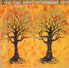 Yellow Tree of Life Curtains - 2 Elegant Cotton Print Window Treatments Panels 82""