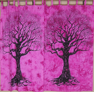 Orchid Tree of Life Curtains - 2 Elegant Cotton Print Window Treatments Panels 82""