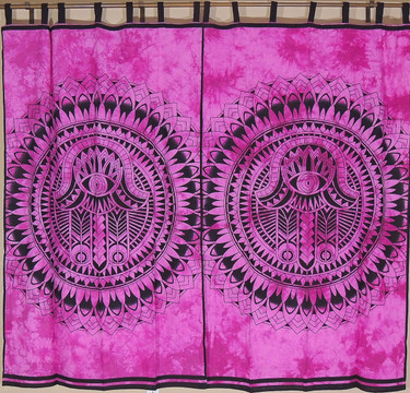 """Orchid Mandala Curtain Panels from India - 2 Cotton Print Window Treatments 78"""""""