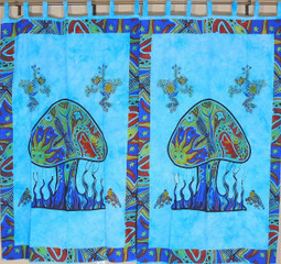 Blue Mushroom Classic Curtain Panels - 2 Cotton Print Indian Window Treatments 78""