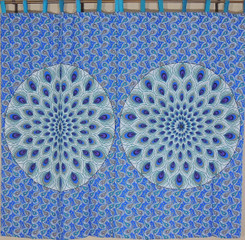 Blue Peacock Tail Fan Curtain Panels - 2 Cotton Print Window Treatments 82""