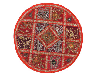 Red Living Room Floor Pillow Cover - Round Ethnic Kundan Patchwork Cushion 26""