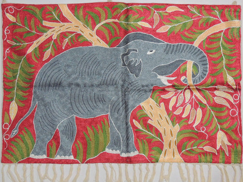 """Maroon Elephant Embroidered Wall Rug - Crewel Chain Stitch Tapestry 36"""" x 24"""""""