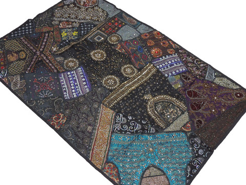 """Black Living Room Wall Hanging - Exclusive Beaded Decorative Indian Tapestry 60"""""""