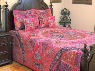 Magenta Decorative Kundan Sari Bedding - Artisan Handmade Duvet Pillow Shams ~ King