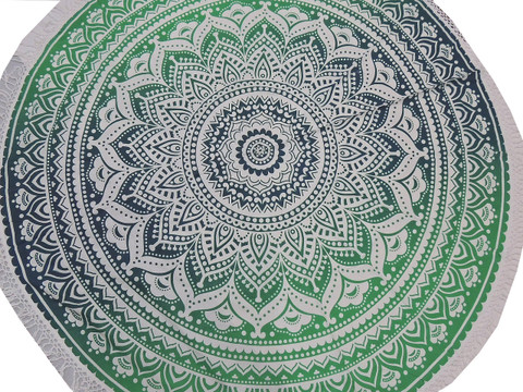 """Green Blue Floral Round Tablecloth - Cotton Print Fringed Table Overlay 70"""""""