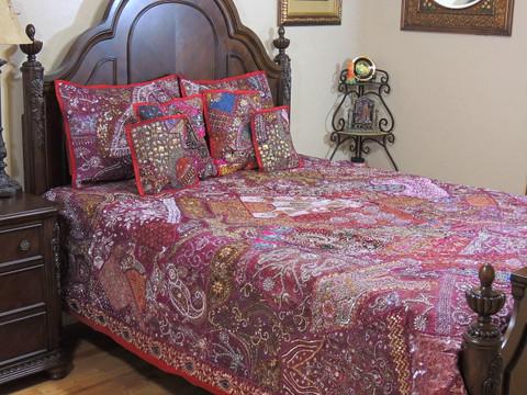 Maroon Decorative Beaded Sari Bedding - Artisan Handmade Duvet Pillow Shams ~ King