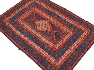 Black Orange Parsi Embroidery Tapestry - Ethnic Indian Wall Hanging Textile 60""