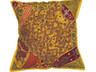 Yellow Bollywood Floor Pillow Cover - Square Beaded Large Accent Euro Sham ~ 26 Inch