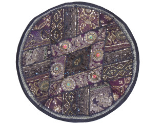 Black Round Decorative Floor Pillow Cover - Gold Zari Embroidery Indian Cushion 26""