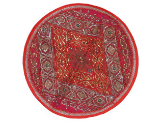 Red Round Decorative Floor Pillow Cover - Gold Zari Embroidery Indian Cushion 26""