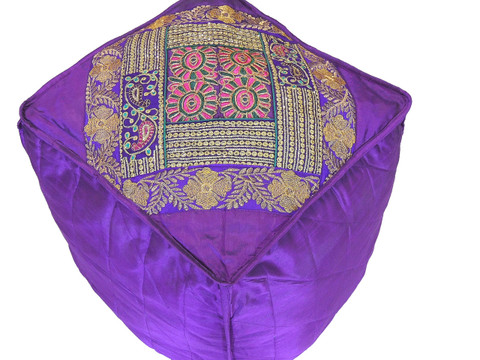 Purple Floor Seating Pouf Cover - Zari Embroidered Traditional Indian Ottoman 18""