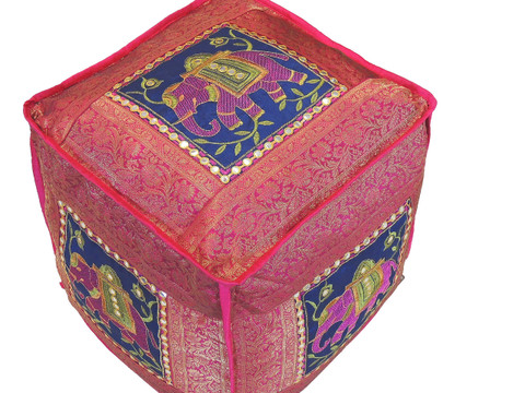 """Elephant Brocade Floor Pouf - Pink Gold Beautiful Embroidered Large Ottoman Cover 16"""""""