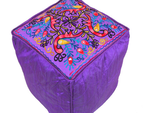 Purple Peacock Floral Embroidered Pouf Cover - Indian Inspired Ottoman Seating 16""
