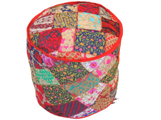 Round Bohemian Embroidered Pouf Cover - Handmade Indian Style Ottoman 18""