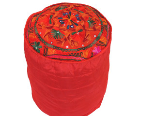 Red Floral Embroidery Circular Pouf Cover - Traditional Indian Floor Seating Ottoman 16""