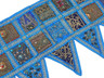 Blue Beautiful Living Room Valance - Kundan Patchwork Elegant Window Toran 60""