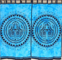 Blue Mandala Print Curtain Panels - 2 Cotton Indian Window Treatments 80""