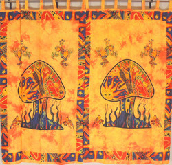 Orange Mushroom Classic Curtain Panels - 2 Cotton Print Indian Window Treatments 82""