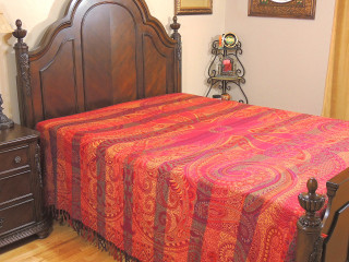 Magenta Sartaj Kashmir Wool Bedding - Ethnic Indian Bedspread Blanket ~ Queen