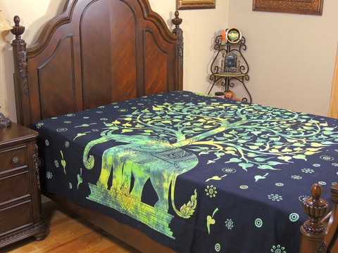 Green Elephant Indian Bed Sheet - Tree of Life Cotton Tapestry Bedding ~ Full