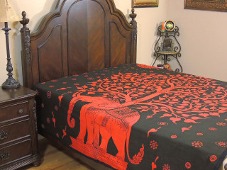 Tree of Life Reversible Duvet Cover Bedding - Red Multicolor Elephant Comforter ~ Double