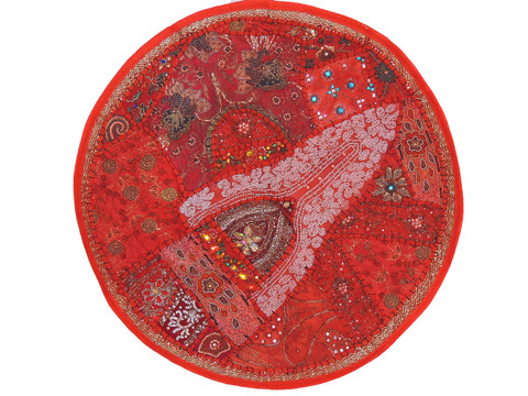 Red Sari Beadwork Round Pillow Cover - Floor Seating Large Indian Cushion 26""