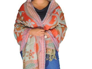Tangerine Brown Paisley Wool Shawl Wrap - Warm Jamawar Ladies Dress Scarf 78""