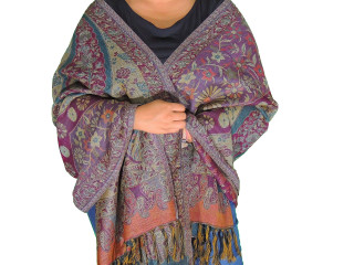 Mauve Floral Wool Shawl Wrap - Warm Kashmir Jamawar Ladies Dress Scarf 78""