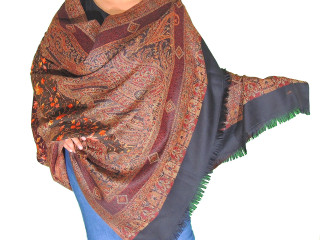 Burgundy Black Paisley Shoulder Shawl Designer Embroidered Scarf 80""