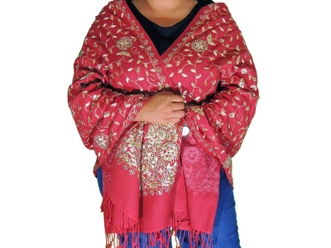 Fire Brick Red Zari Embroidered Wrap - Fashion Warm Shoulder Shawl 78""