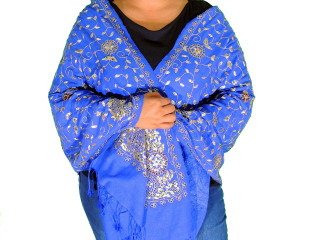 Blue Zari Embroidered Luxury Wrap - Fashion Warm Shoulder Shawl 78""