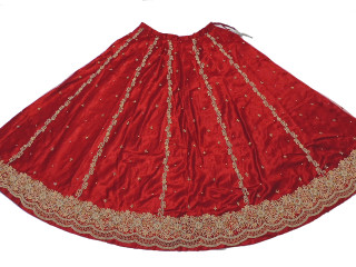 "Burgundy Zardozi Bollywood Fashion Skirt ~ Full Length Clothing Dress 36"" Waist"