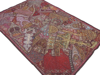"""Brown Huge Indian Wall Hanging - Handmade Beaded Decorative Textile Tapestry 90"""""""