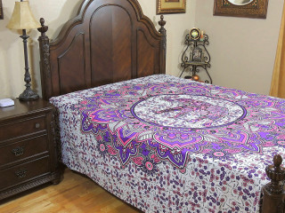 Purple Pink Elephant Bed Sheet - Floral Indian Cotton Tapestry Bedding ~ Full