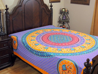 Lavender Yellow Mandala Bed Sheet - Elephant Dot Print Cotton Tapestry Bedding ~ Full
