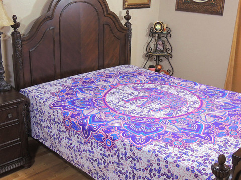 Blue Purple Elephant Bed Sheet - Floral Petals Indian Cotton Tapestry Bedding ~ Full