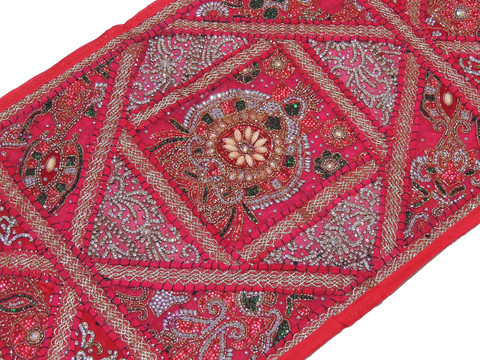 "Magenta Kundan Decorative Sari Tapestry - Beaded Embroidered Wall Hanging 60"" x 20"""