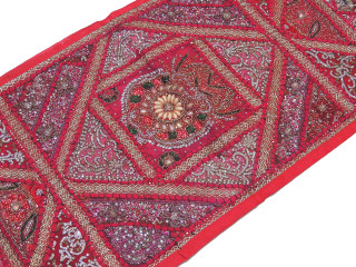 "Magenta Handmade Indian Wall Hanging Tapestry - Beaded Sari Runner 60"" x 20"""
