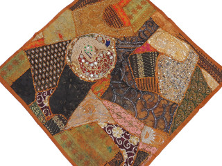 Brown Decorative Indian Wall Hanging - Patchwork Square Beaded Tapestry Textile 38""